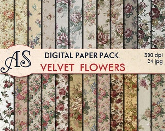 Digital Vintage Floral Paper Pack, 24 printable Digital Scrapbooking papers, Flowers Digital Collage, clip art, Instant Download, set 35