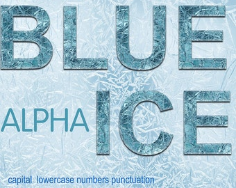 Digital Blue Ice Alphabet for scrapbooking, Papercrafts, christmas Decor, Fabric, Pillow, winter clip art, Instant Download, #63