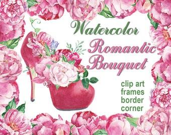 Digital 12 Watercolor Romantic bouquet clip art, frames, border, corner, peonies Digital Collage, Valentines Day, Instant Download,clip 62