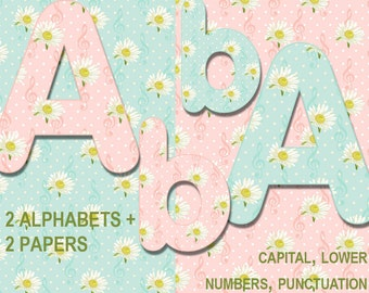 2 Digital Spring music Alphabet for scrapbooking, Papercrafts, Decor, chamomile clipart, Printable Lettering,Instant Download, #71
