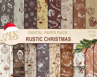 Digital Rustic Christmas Toys Paper Pack, 16 woodeen burlap Scrapbooking papers, hand draw, doodle Digital Collage, Instant Download, set341