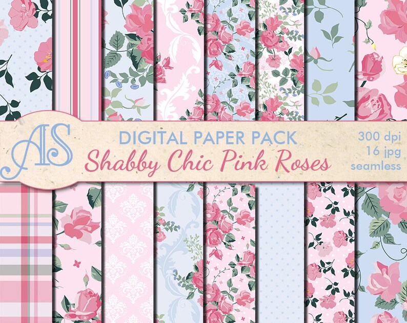 Admirable Digital Shabby Chic Pink Roses Seamless Paper Pack 16 Printable Scrapbooking Papers Retro Roses Digital Collage Instant Download Set 222 Beutiful Home Inspiration Xortanetmahrainfo