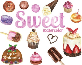 Digital Watercolor Sweet Clipart, printable Digital Scrapbooking, Food Clip art, Digital Collage, Instant Download, clip 76