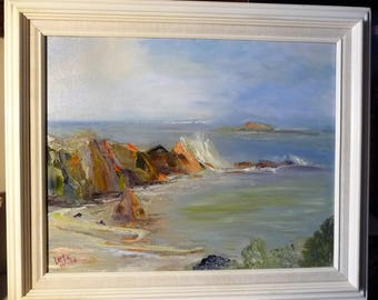 """Approaching Storm, Rugged Coastline, Ocean View by Leta Wood """"Storm's Progress"""", 1970, Acrylic Painting"""