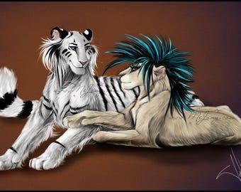 Winter Snow Tiger Zima Lioness PRINTS