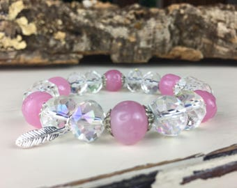 Pretty in Pink - Charming Miriam Haskell dimple beads in soft pink with AB Crystal B009