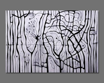 Abstract painting Black and White Modern Abstract Original painting, Modern Large painting Large size 195x130 cm / 76.7x51.2 inches