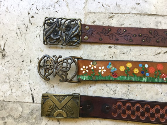 vintage leather belt, tooled women boho, free peop