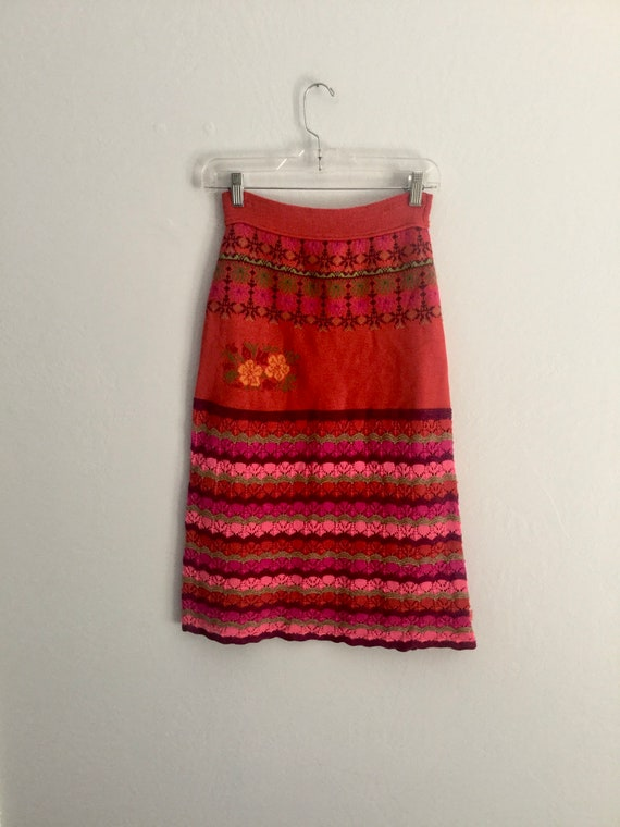 vintage oilily knitted skirt dress floral size m o