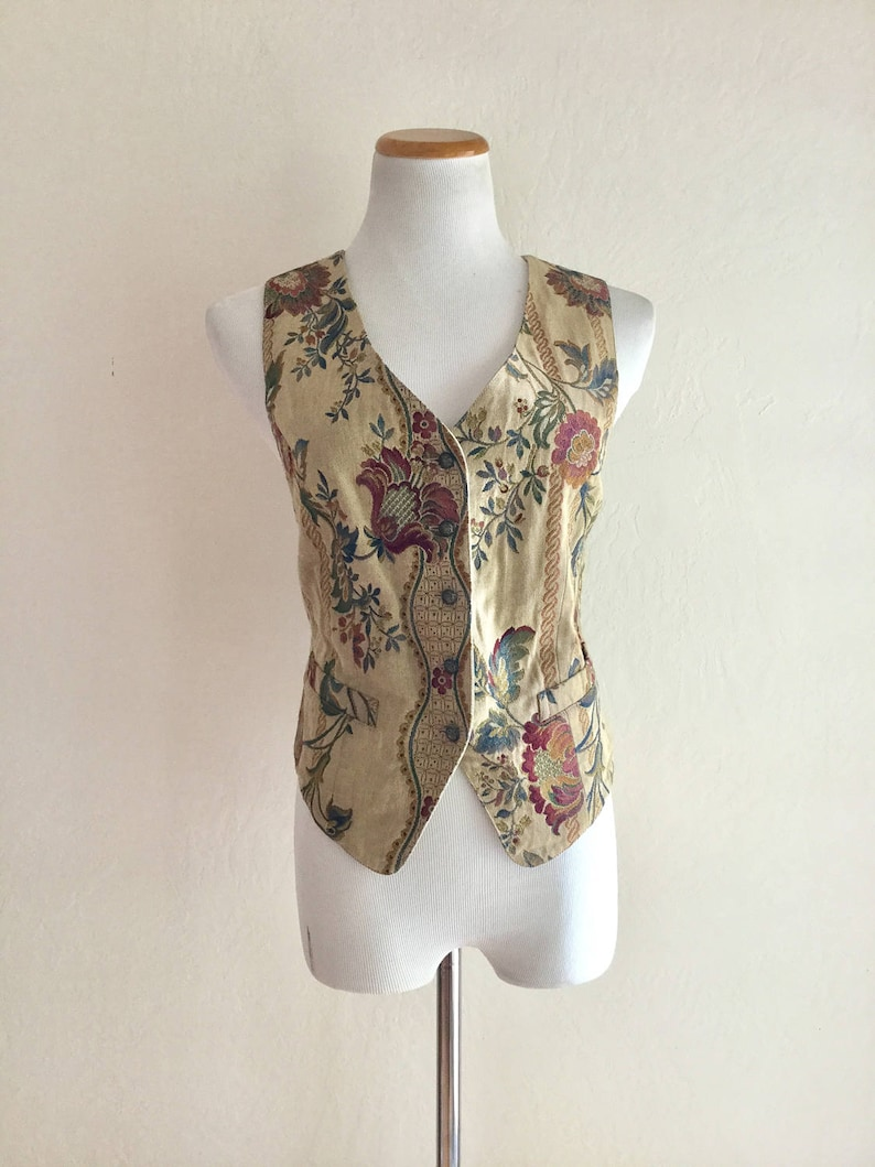 92a8c22f00b359 Vintage 90 s vest tribal top hippie boho style flowers