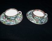 Rare Antique Chinese Qing Dynasty Rose Canton Famille Porcelain Pair Demitasse Cups and Saucers - Fluted - Cups with Curved, Twisted Handles
