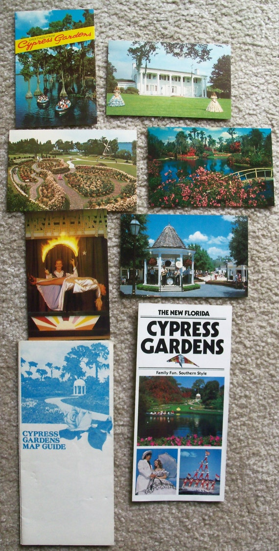 Florida Travel Guide Map.Vintage Florida Cypress Gardens 6 Picture Postcards Guide Map Etsy