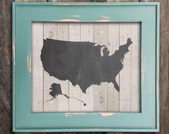 USA United States Map - America Map Chalkboard Art Preppy State Poster - Americana Wall Art - Hipster Room Decor - Minimalist American