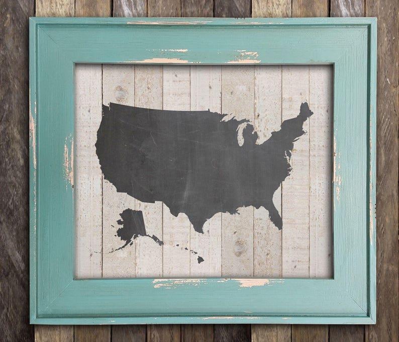 USA United States Map America Map Chalkboard Art Preppy   Etsy