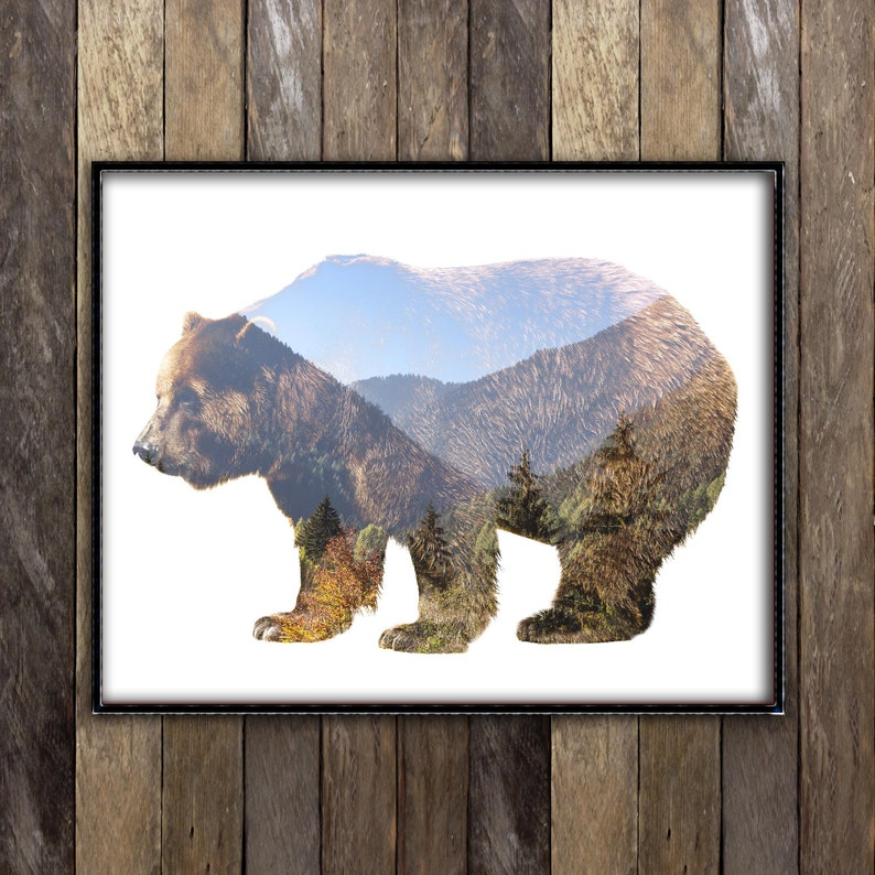 Grizzly Bear Print  Mountains Forest Animal Poster  Double image 0