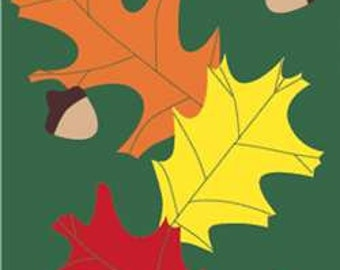 Autumn Leaves with Acorns Handcrafted Applique Flag