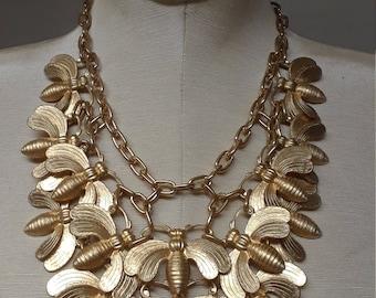the Beehive bib statement necklace Classic style fashion neck wear designers jewelry brass metal