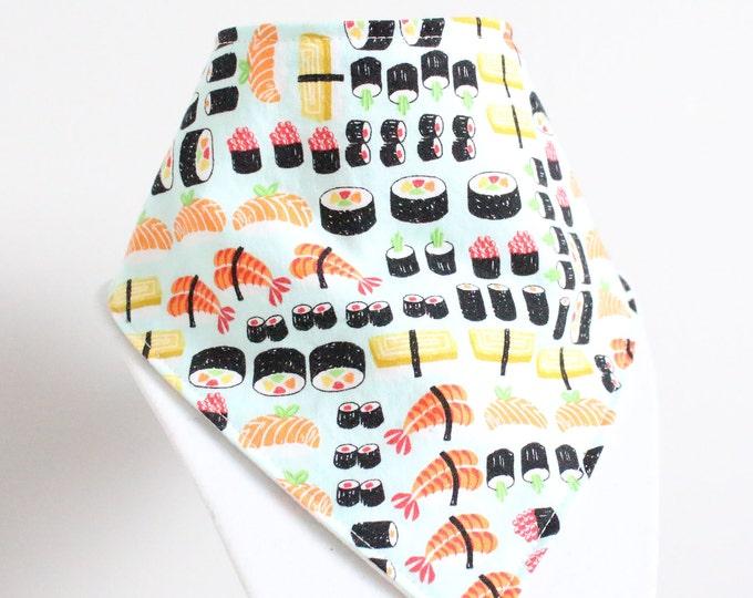 sushi fabric bandana style drool bib