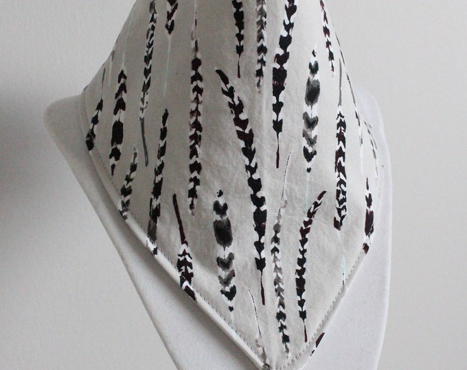 Feather bib / grey / baby bib / drool bib / bibdana / ready to ship