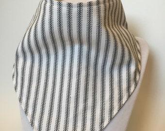 black and white stripes bandana style bib