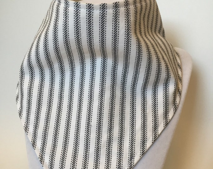 black and white stripes bandana style bib