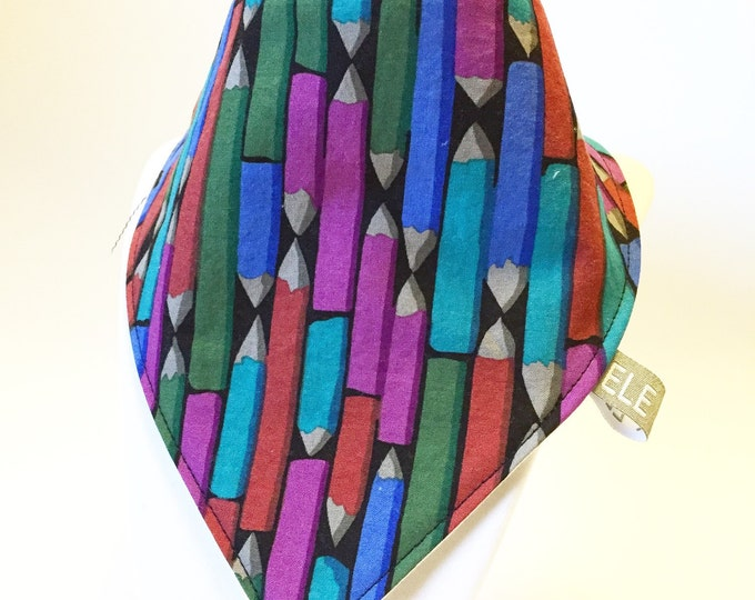 Pencils / baby bib / drool bib / bibdana / ready to ship