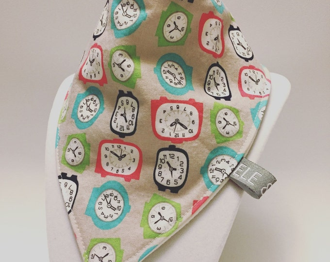 Clocks bib / baby bib / drool bib / bibdana / ready to ship