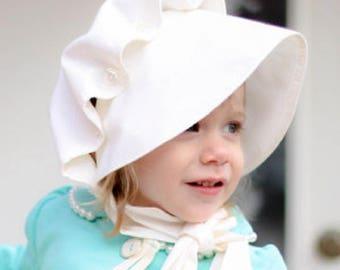 86750fd8dc4 MONOGRAMMED Baby bonnets beach hat White bonnet sun hat sunbonnet Infant  Toddler monogram monogramming embroidery monograms shower gift