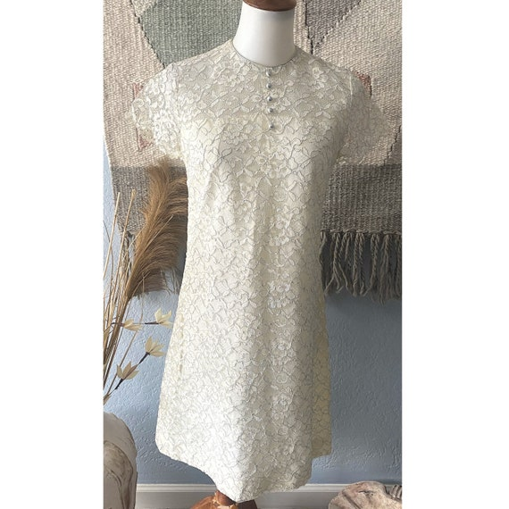 Vintage 70s lace and silver mini baby doll dress |
