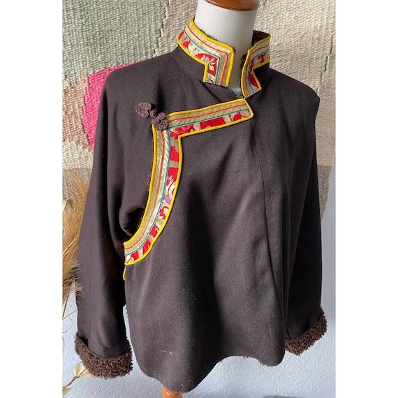 """Vintage 80s """"King's Wool"""" brown merino wool coat"""