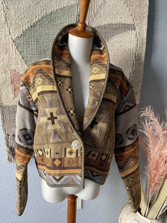 Vintage 90s cropped southwestern tapestry coat