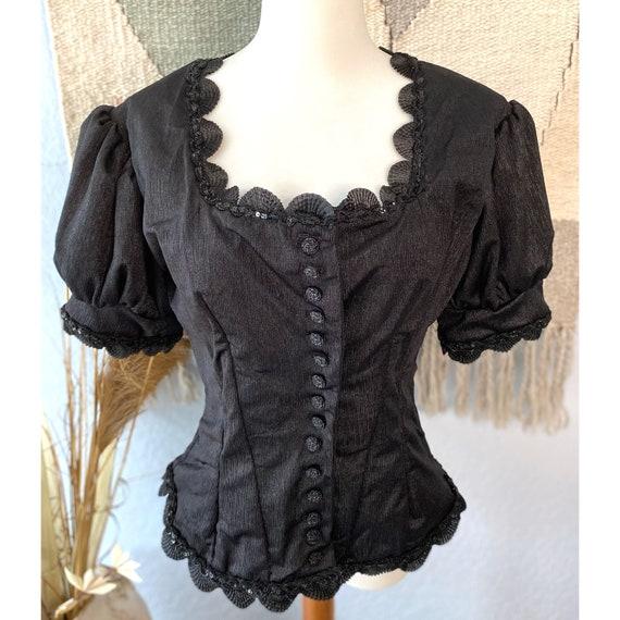 Vintage 60s Peplum victorian corset overcoat top
