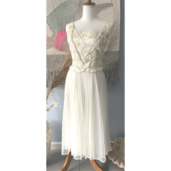 Vintage 50s cream cocktail dress w/ chiffon skirt
