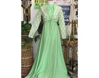 Vintage 70's 2 pc seafoam maxi dress w/ knit shrug || Size XS-S/ 2-4 women's ||