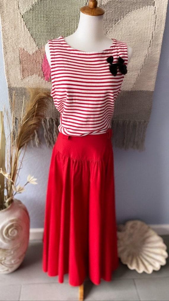 Vintage 80s Liz Claiborne Red striped day dress