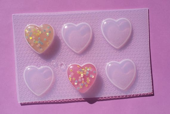 Resin Mold Heart Flat Symmetrical Puffed Hearts 4 Count Jewelry Pendant Plastic