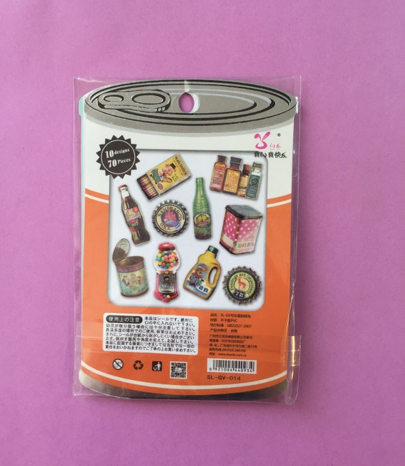 70 Pcs Retro Food Items Sticker Flakes Planner Stickers Etsy
