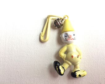bell charm, plastic charm necklace 80s, vintage, retro, eighties, yellow, clown