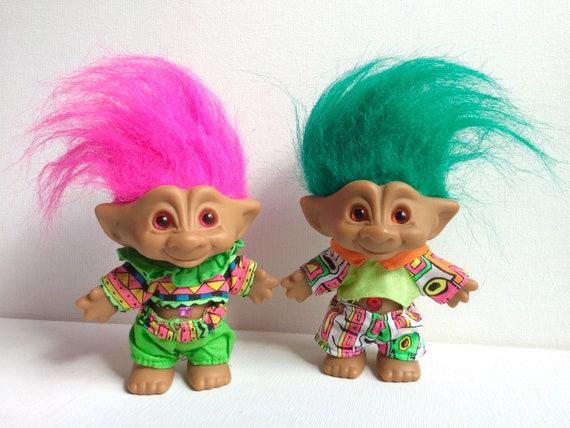 vintage ace novelty treasure troll dolls set of 2 twins etsy