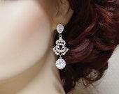 Chandelier bridal earrings Rhinestone wedding earrings CZ Cubic Zirconia dangle vintage earrings silver Diamond cut crystal clear filigree