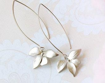 Silver orchid earrings, long dangle earrings, modern everyday earrings, matte silver flower earrings, silver bridal earrings girlfriend gift