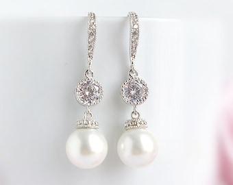 Bridal pearl earrings, Wedding dangle drop earrings, CZ crystal earrings with Swarovski white peals, Silver bridal jewelry Cubic Zirconia