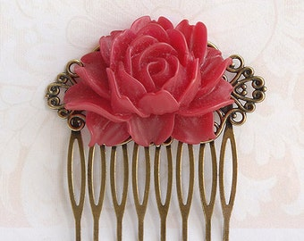 Maroon red rose hair comb, Wedding bridal hair comb, Dark red floral hair comb, Antique brass filigree hair comb Maroon red burgundy wedding