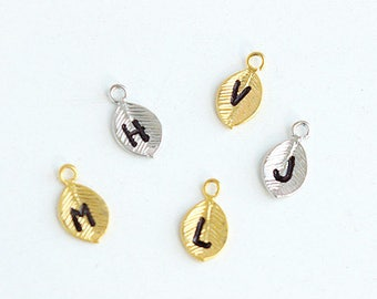 Add an initial leaf, personalized leaf charm, monogram stamped letter to the jewelry from my shop