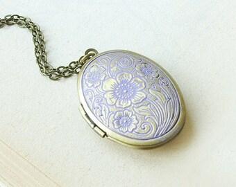 Oval locket necklace, floral aqua blue patina verdigris violet locket, brass pendant, vintage style photo locket, keepsake, romantic jewelry