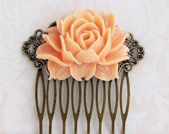 Wedding bridal blush peach hair comb, Light peach rose hair comb Floral filigree, Antique brass filigree hair comb Blush peach wedding