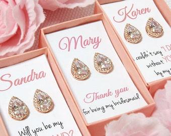 Rose gold bridesmaid earrings, personalized bridesmaid gift set of 3 4 5 6 7 8 9 set of 10 11 12 teardrop stud CZ Wedding earrings tear drop