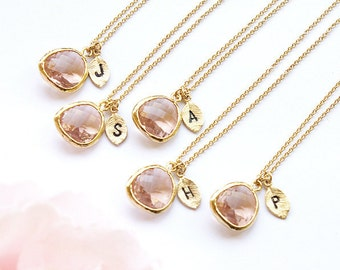 Bridesmaid gifts Set of 5 4 3 6 7 8 9 10 Personalized bridesmaid necklace Leaf initial, Gold Champagne necklace, Monogram peach pendant