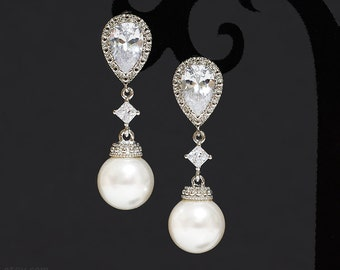 Bridal pearl earrings, Wedding dangle drop earrings, Crystal pearl CZ post earrings, Swarovski white pearls, Silver bridal jewelry Zirconia