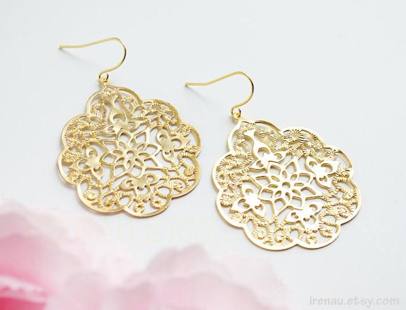 c07560188b19 Gold filigree earrings Big lace modern earrings Large dangle